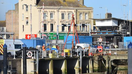 Drilling equipment was used for riverbed investigations as part of the work in Lowestoft.