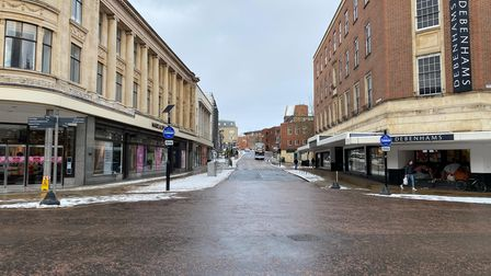 Rampant Horse Street in Norwich city centre, which would usually see hundreds of people shopping