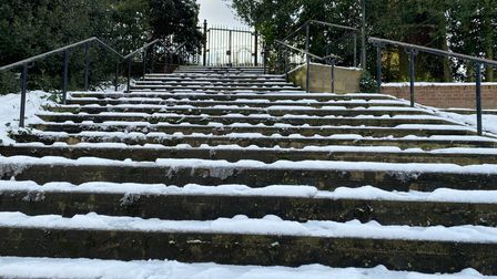 Some of the stairs leading up to the grounds outside Norwich Castle