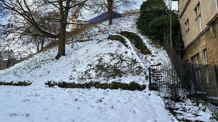Norwich Castle grounds were completely covered in snow