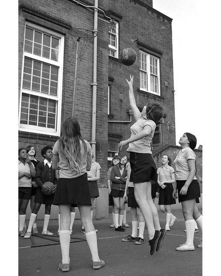 Netball practice at Tower Ramparts School, Ipswich, in March 1977
