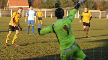Fakenham Town's Ashley Jarvis scored the only goal of the game, from the penalty spot. Picture: Ian
