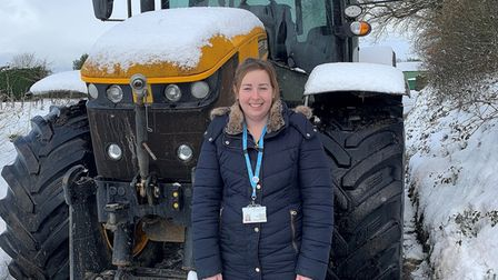 Charlotte Perry-Warnes used her husband's tractor to get to appointments on Monday.