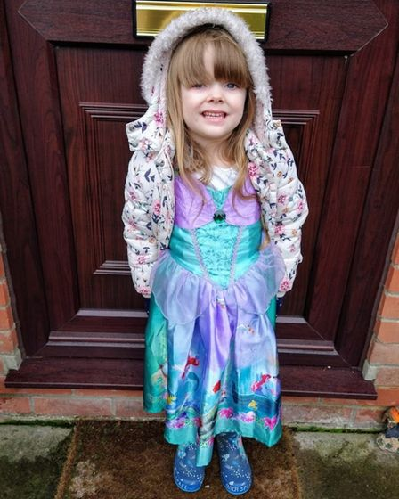 Eva Harrison, 4, from Hethersett, completed 34 miles in 28 consecutive days of walking – all while dressed in a selection...
