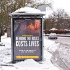The new campaign by the government at a bus stop in Ipswich. Picture: SARAH LUCY BROWN