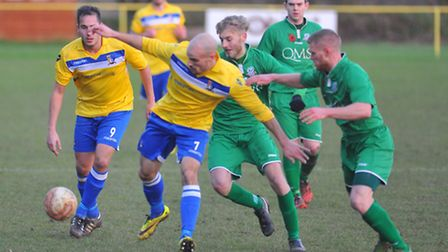 Matt Blake on the attack for Norwich United during their 4-0 home win against Gorleston in the Norfo