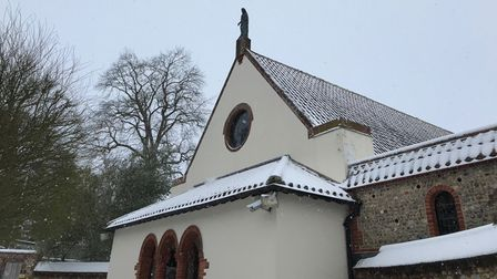 The shrine covered in snow