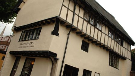 The Britons Arms coffee shop on Elm Hill, Norwich, which closed in 2020.