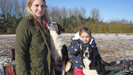 Shepherdess Becky Dixon with daughter Evie and sheepdogs Kip and Swift. Picture: Danielle Booden