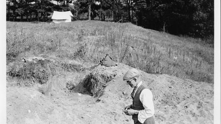 Another image of Basil Brown at West Stow. In 1947, he was joined for the dig by Dr Stanley West