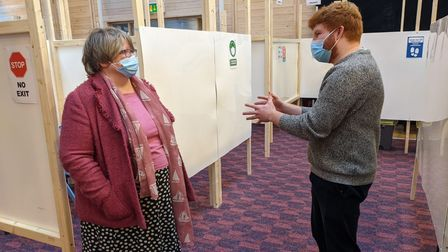 Therese Coffey at Vaccination Centre