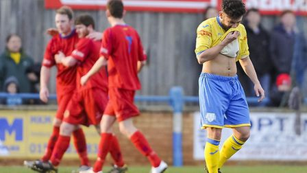 King's Lynn Town v Skelmersdale at The Walks - Stephen Spriggs reacts as Lynn goes 0-2 down. Picture