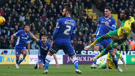 Cameron Jerome smashes Norwich City's match-winner following Russell Martin's burst in a 3-2 victory