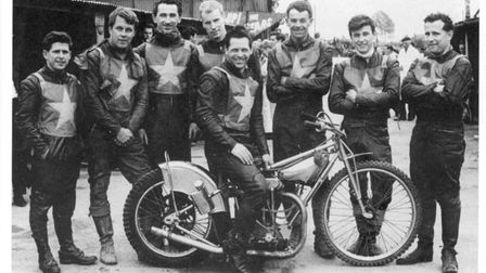 PICTURE FROM 'IMAGES OF SPORT - NORWICH SPEEDWAY'. THE 1964 NORWICH TEAM. L-R BILLY BALES, OLLE NYGR
