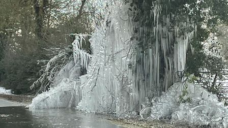 Icicles created by a puddle in the road in Hilborough.