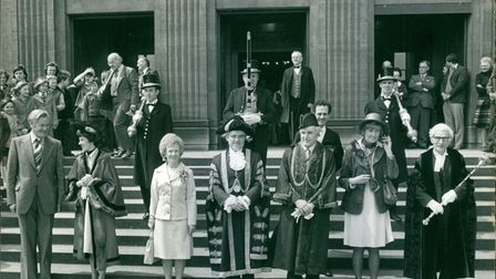 The Lord Mayor Ralph Roe and his wife Muriel (centre left) pose with others on the steps of City Hall in May 1977.