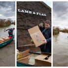 Valentine's Day special as Sunday lunches, cooked by the Lamb and Flag, Welney, are delivered by kayak to those cut off...