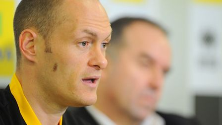 New Norwich City manager Alex Neil speaks to the media after getting the job, alongside chief execut