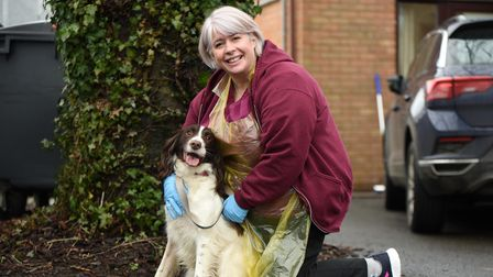 Sally Mitchell and Brian the dog. Melton Veterinary Surgery Picture: CHARLOTTE BOND