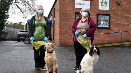 Hayley Biggs with Maxie and Sally Mitchell with Brian at Melton Veterinary Surgery Picture: CHARLOT