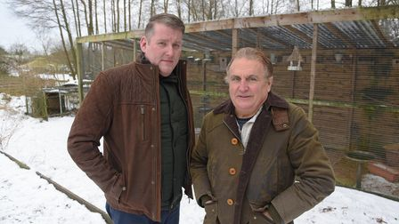 Craig and Gary Secker, from Seething, who had more than 100 birds stolen from an aviary at their hom