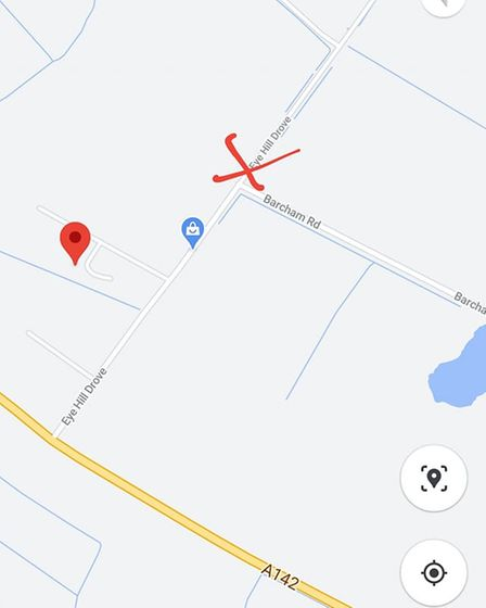 Map showing where the wood and rubbish was fly tipped at Barcham