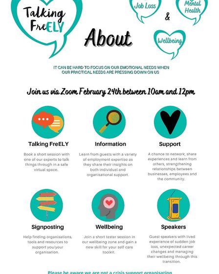 Ely-based mental health charity Talking FreELY is holding a free virtual event on Wednesday February 24.