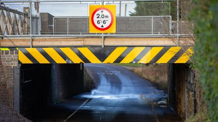 Stonea Rail underpass damaged soon after reopening.Wednesday 10 February 2021.Picture by Terry Ha
