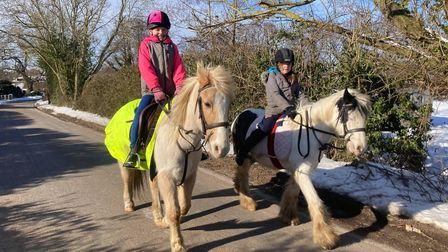 Millie, left, and LottieGoodliffe were riding their ponies when Lottie was thrown from her saddle.