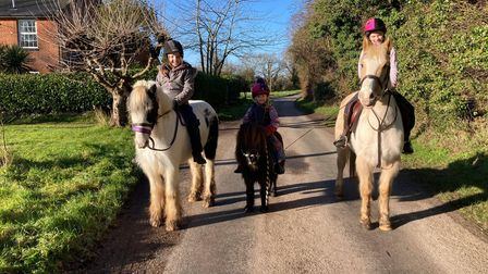 Sisters Lottie, Pippa and MillieGoodliffe regularly ride their ponies aroundCalthorpe in north Norfolk.