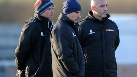 Lowestoft Town joint manager Micky Chapman (left), joint manager Ady Gallagher (centre) and director