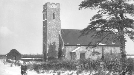 Panxworth Church in the winter sunshine. Dated: February 5th, 1963.