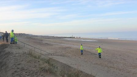 Coastguard team members were called to the scene of the unexploded shell.