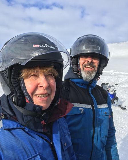 Andy Smith pictured with his mother Cora Smith in Iceland.