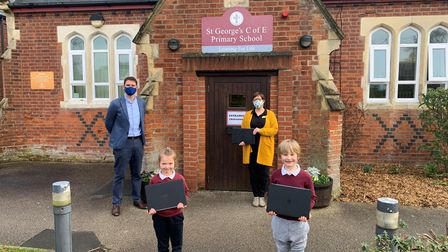 Supermarket chain Aldi has donated laptops to St George's Primary School in Great Bromley, Colchester
