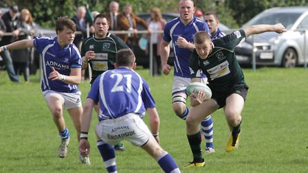 James Knight on the attack for North Walsham against Diss in the Norfolk Senior Cup final at Scottow