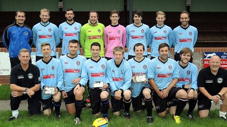 Bungay Town's team with some of the free mushrooms on offer on Non-League Day.
