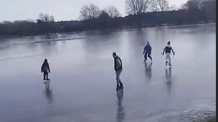 A group of friends were spotted skating on the ice at Jubilee Gardens in Mildenhall, where the River Lark had flooded and...