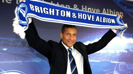 Chris Hughton is paraded as Brighton and Hove Albion's new manager, his first job since being sacked