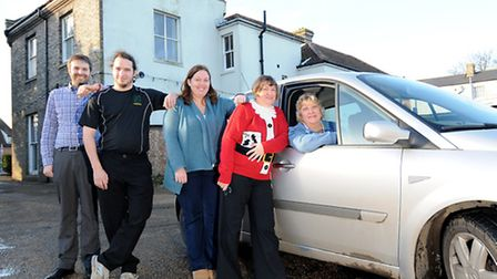MediRide, North Walsham. Liz Brown, right, a once user of the service is now a volunteer. Pictured w