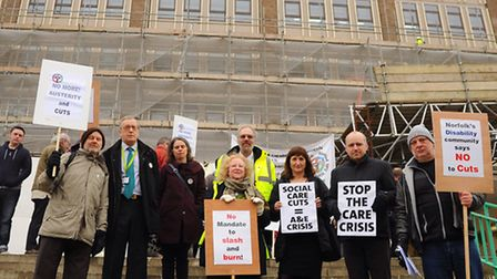 Protesters against cuts for the disabled and carers at County Hall. Picture: DENISE BRADLEY