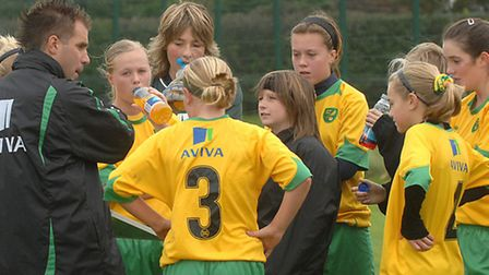 Action from the under 14's NCFC FA Girls Centre of Excellence matches against Arsenal at the Open Ac