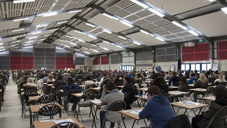 About 900 students at their mock GCSE English at the Showground on February 10. There will be 1,100