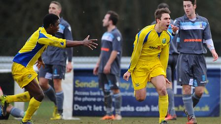 Lee Boon of Ascot United (right) celebrates after scoring his team's second goal during the FA Vase