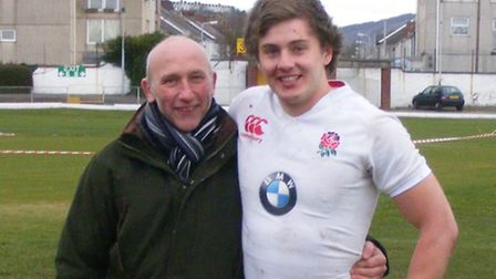 England Under-20 international Will Owen with Pete Tomson, who coached him at Diss throughout his 11