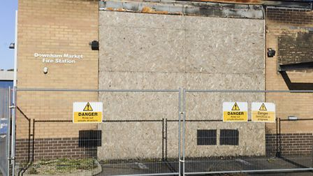 The boarded up remains of Downham Market Fire Station. Picture: Matthew Usher.