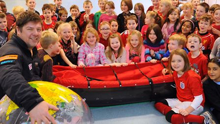 Mark Wood, explorer, with his sled during his visit to Hethersett Junior School. Picture: DENISE BRA