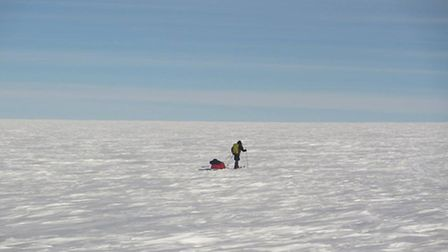 Mark Wood on his solo journey to the south pole in 2011.