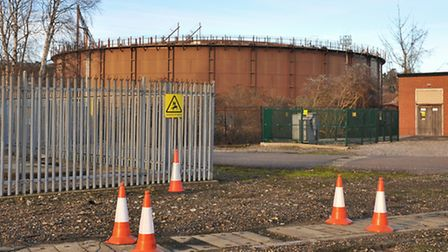 The gas storage unit in Cremorne Lane, which will be dismantled within months. Picture by SIMON FINL