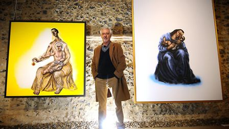 Artist Chris Gollon at his exhibition at Norwich Cathedral Hostry. Picture: ANTONY KELLY